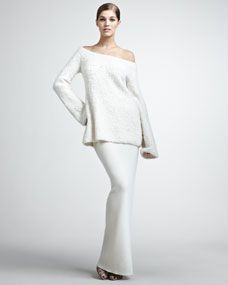 Wool/Cashmere Boucle Pullover & Long Skirt