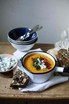 Roast Carrot Soup with Seed and Nut Bread
