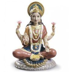 Goddess Sri Lakshmi Llladro Idol – Porcelain figurine from Lladro – Goddess Lakshmi Murti ~ Hindu Lakshmi Statue, Hindu Statues, Hindu Deities, Hinduism, Hindu Dharma, Goddess Lakshmi, Hare Krishna, China, Goddesses