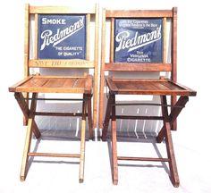 VTG 1920's Piedmont Cigarettes Porcelain Sign Advertising Folding Chair - Mint #PiedmontCigarettes