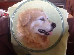 Needle felted 2D picture Golden Retriever dog. #ChicktinCreations