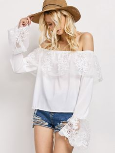 Lace Chiffon Off The Shoulder Top - WHITE S