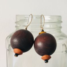 Berty And Gerty Vintage Present these brown wooden dangle earrings. Condition is good. Length is 4 x 2 cms. We ship daily with Royal Mail post. Please see our vintage gems: www.etsy.com/shop/BertyAndGertyVintage Wooden Jewelry, Wooden Beads, Rose Earrings, Dangle Earrings, Pink Fruit, Bead Jewellery, Hippie Jewelry, Beaded Rings, Adjustable Bracelet