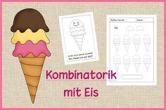 Mathe, logisches Denken, Kombinatorik mit Eis, wie viele Möglichkeiten gibt es die farbigen Eiskugeln zu legen, Legematerial,  Arbeitsblätter, praktisch, Klasse 1, Vorschule, Lehrerblog