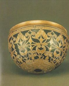 This exquisite example of Celtic art was discovered at its namesake in West Germany. As part of the Moselle grouping of rich burials, this hemispherical bowl is a paragon of La Tene artwork. A gold façade of intricate sweeping designs repeats itself around the entirety of the bowl, and the bowl itself is crafted from bronze with a wooden insert, which has since rotted away.