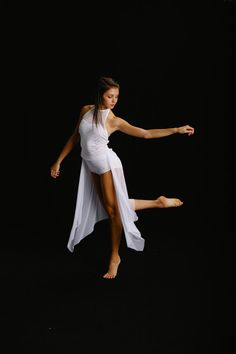 White 3 pc lyrical costume with rhinestones by RougeDanceCostumes