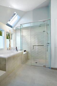 tiled showers ideas white wave tile contemporary bathroom design #ShowerPanels