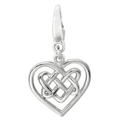 Sterling Silver 'Celtic Knot Heart' Charm (Sterling Silver Celtic Knot Heart Charm), Women's