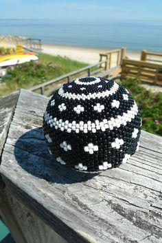 Handmade Black & White Beaded Ball Sphere Large by TheBeadedEgg