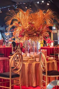 The red corner out of the four colors used for the Emmy Awards. Such an elegant and beautiful centerpiece where desserts will fill the table. The Emmys, Centerpieces, Table Decorations, April 24, Awards, Fill, Corner, Events, Elegant