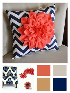 Master bedroom -- navy/coral/taupe color palette (silver vases/lamps)