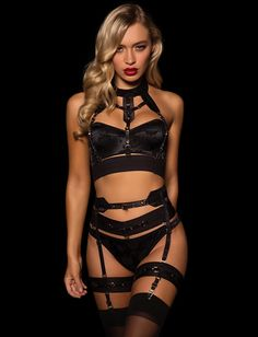 b7b649c06fbd9 Miss V Thong Suspender Set – Honey Birdette Black Lingerie