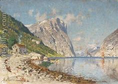 A Norwegian fjord Adelsteen Normann | Oil Painting Reproduction | 1st-Art-Gallery.com