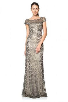 Tadashi Shoji PAILLETTE EMBROIDERED LACE OFF SHOULDER GOWN
