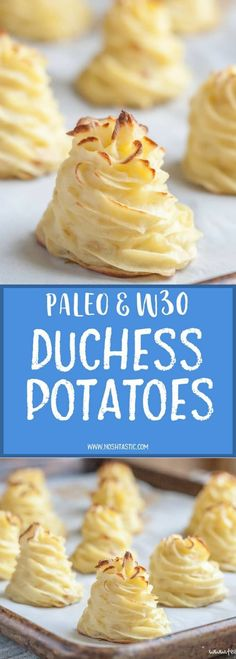 Pretty, piped, Duchess Potatoes! easy but fancy baked mashed potatoes. They are Gluten Free, vegetarian and paleo and whole30.