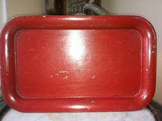 Vintage RED Painted Tray by Sfuso on Etsy
