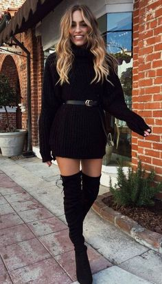 perfect christmas outfit idea / sweater dress belt over knee bootsThe Effective Pictures We Offer You About Women Sweater 2019 A quality picture can tell you many things. You can find the most beautiful pictures that can be presented to you about Wo Pullover Outfit, Sweater Dress Outfit, Winter Dress Outfits, Casual Winter Outfits, Classy Outfits, Stylish Outfits, Christmas Outfit Women Dressy, Black Sweater Dress, Dress Boots
