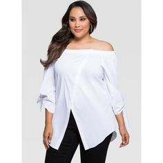 961a6d967cf8c6 Ashley Stewart Off-Shoulder Crossover Front Shirt ($40) ❤ liked on Polyvore  featuring