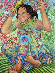 """Girl with bird under the Flame tree"" Nerida De Jong"