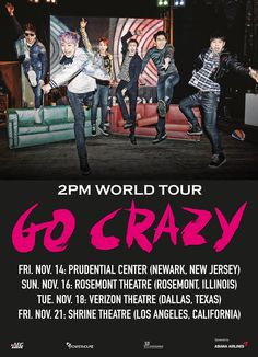 2PM To 'Go Crazy' In The US With World Tour Stops In New Jersey, Illinois, Texas & California http://www.kpopstarz.com/articles/124749/20141016/2pm-jyp-entertainment-2pm-world-tour-go-crazy.htm