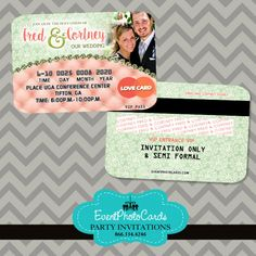 Coral Mint Couture Wedding Invitations