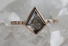 natural geometric black diamond ring- rose gold :: Alexis Russell