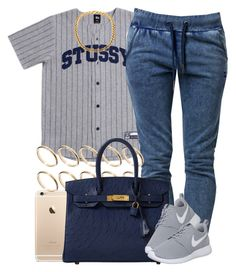 """""""Navy Stussy."""" by livelifefreelyy ❤ liked on Polyvore featuring Stussy, OnePiece, ASOS, Hermès and NIKE"""