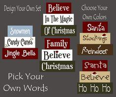 Lots of CHRISTMAS designs Santa Ho Ho Ho Stockings Reindeer Family Believe In the Magic Wood Sign Shelf Blocks Primitive. $25.95, via Etsy.