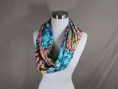 Infinity Scarf in Yellow, Blue and Pink Print Handmade Lightweight Scarf Spring Scarf Summer Scarf