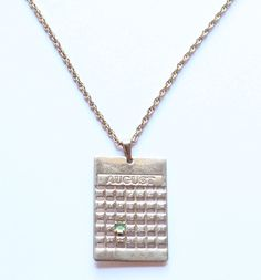 Avon Signed August Birth Month Birthday Calendar Pendant Necklace by paststore on Etsy