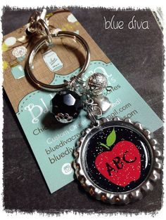 Teacher Apple Theme..... Bottle Cap Keychain, Purse Charm, bag Charm on Etsy, $8.50