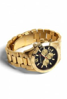 Gold Chronograph Watch With Black Face by Michael Kors Watch