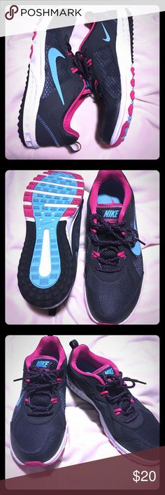 NIKE Wild Trail tennis shoes Mint condition NIKE tennis shoes! Overall color is a dark grey, with accents of pink and light blue. Only been worn twice. These are great for running, hiking, or even casual athletic wear. 🏃🏻♀️🖤 Nike Shoes Athletic Shoes