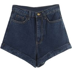 Deep Blue High Waist Roll Hem Denim Shorts ($29) ❤ liked on Polyvore featuring shorts, bottoms, pants, jean shorts, high-waisted denim shorts, high rise shorts, denim short shorts and dark blue shorts