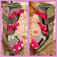 Decorated walking air cast/boot with painted polka dots, monogram, chevron & grosgrain bows. This is nice I have some Vera Bradley stickers I could use! Air Cast Boot, Walking Cast, Dont Text And Drive, Broken Foot, Leg Cast, Foot Love, Boot Bling, Walking Boots, Designer Boots