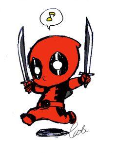 Baby deadpool - visit to grab an unforgettable cool Super Hero T-Shirt! Cute Deadpool, Deadpool And Spiderman, Deadpool Chibi, Hq Dc, Hello Kitty, Deadpool Wallpaper, Batman Tattoo, You Draw, Marvel Dc Comics