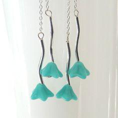 turquoise flower earrings sterling silver jewelry by frankideas, $30.00