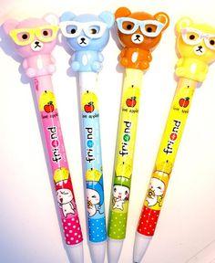 Kawaii adorable TEDDY BEAR Japan ballpoint pen by MyChildhoodDream School Stationery, Stationery Items, Cute Pens, Kawaii, Smash Book, Diy Scrapbook, Ballpoint Pen, School Supplies, Childhood