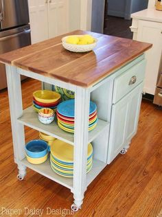 Tidy Little Island Built From A Leftover Kitchen Cabinet And Drawer.