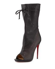 Love love love!!!!!!! Jennifer Perforated Red Sole Boot, Black by Christian Louboutin at Neiman Marcus.