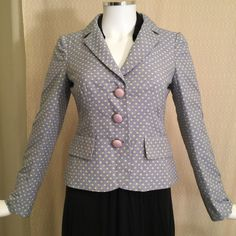 Fab Moschino Jacket! Fabulous Moschino Cheap and Chic jacket- light blue with yellow polka dots and pink buttons. Great with jeans, skirts, dressed up or dressed down!  Feel free to ask questions about item, I'm happy to answer  If you want to own it, we can find a price you'll be happy with  Make offers via offer button (please consider Posh 20% fee)  Smoke Free Home Moschino Jackets & Coats