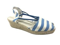 CHICO'S NEW $99 Jessa Blue Striped Espadrille Wedges Size 7 Womens Shoes NIB #Chicos #PlatformsWedges #Casual