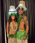 Couples Halloween costume idea: Hula Lamps Homemade Costume