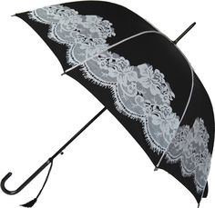 http://BookerGifts.co.uk - Stunning Vintage Style black and white printed umbrella. Fully automatic opening, featuring a beautiful fine contrast detailing running down the length of each of the tough fibreglass ribs.  Leather effect hooked handle with tassel and a diameter when open of 95cm. Walking Stick length at 90cm when closed. These umbrellas really are something special and built with the very best materials to make them last a long time.