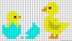 Chicks Easter perler bead pattern