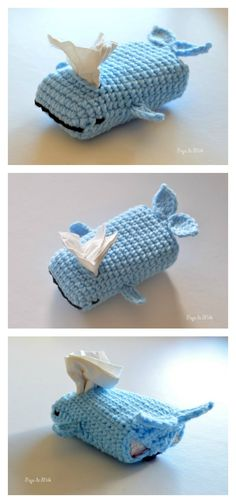 "Crochet Bag Whale Tissue Cozy Free Crochet Pattern - If you don't have a tissue box cover, then the Tissue Cozy Free Crochet Patterns are for you. They also make a great stocking stuffer or ""last minute"" gift. Crochet Home, Crochet Gifts, Cute Crochet, Crochet Baby, Baby Knitting, Crochet Mignon, Knitting Patterns, Crochet Patterns, Purse Patterns"
