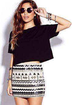 Beads & Sequins Mini Skirt | FOREVER 21 - 2000128048