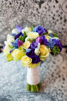 Blue and Yellow Bridal Bouquet