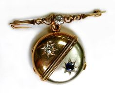 "On October 24, 1889, Barton was presented with this locket from the Ladies of Johnstown at the close of the American Red Cross relief efforts following the flood that occurred months before.  Here is the gold locket set with diamonds and a sapphire that was presented by the ladies of Johnstown at the close of the American Red Cross relief efforts in October of 1889. Engraved on the back, ""To Our Friend in Need Miss Clara Barton from the Ladies of Johnstown Oct 24 1889."""