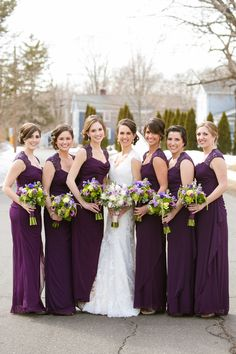 Bridesmaids in Plum  Shades of Purple + Green Saint Clements Castle Wedding Photographer: Candace Jeffery Photography